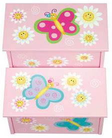Butterfly Girls Storage Step-Up Stool