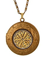 Liberty - Vintage Floral Locket with a dime On a Chain
