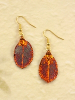 Nature Rose Leaf  in Fall Iridescent Copper Electroplated Earrings