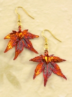 Nature Japanese Maple Leaf in Fall Iridescent Copper Electroplated Earrings