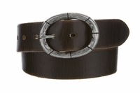 "3916 Fullerton Vintage Casual Genuine Full Grain Leather Belt  1 1/2"" wide -Silver Buckle"