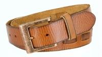 "3880 Men's Casual Jean Belt 100%  Genuine Full Grain Leather with a Middle Hand Laced with a Copper Buckle - TAN - 1 1/2"" Wide"