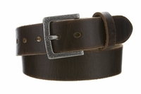 "Fullerton Women's Vintage Casual Genuine Full Grain Leather Belt  1 1/2"" wide - Silver Buckle"