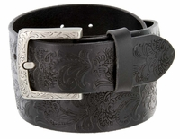 2362 Western Engraved Buckle Full Leather Grain Belt - 1 1/2""