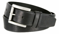 "3854 Feathered Vintage Leather Roller Buckle Belt - 1 1/2"" Wide - BLACK"