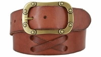"3901 Handlaced X Pattern Genuine Full Grain Leather Casual Belt 1 3/4"" wide"