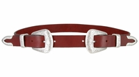 "Womens One Piece Hand Made Full Grain Genuine Leather Double Buckle Set Belt 1"" Wide - Burgundy"