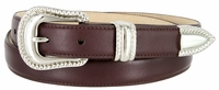 Smooth Genuine Leather Dress Belt with Rope Edge Style Buckle Set - Burgundy