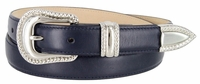 Smooth Genuine Leather Dress Belt with Rope Edge Style Buckle Set - Navy