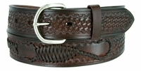 "2285 Western Scorpion X Hand Woven Genuine Leather Belt -  1 1/2"" Wide - BROWN"