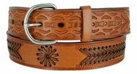 "2287 Western Tooled Braided Full Grain Leather Belt - 1 1/2"" wide TAN"