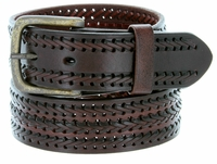 10563 Fine Triple Braided Genuine Leather Casual Jean Belt - BROWN