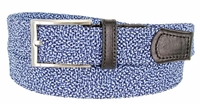 "BL049 Knitted Fabric Woven Elastic Stretch Casual Golf Belt 1-1/4"" wide - 30200-BL049 Black/Blue"
