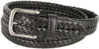 """20150 Men's Braided Woven Leather Dress Belt 1-1/4"""" wide with Nickel Plated Buckle - Black"""