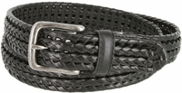 """20153 Men's Double Braided Woven Leather Dress Belt 1-1/4"""" wide with Nickel Plated Buckle - Black"""