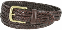 """20153 Men's Double Braided Woven Leather Dress Belt 1-1/4"""" wide with Brass Plated Buckle - Brown"""