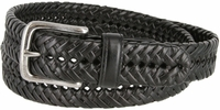 """20154 Men's Braided Woven Leather Dress Belt 1-1/4"""" wide with Nickel Plated Buckle - Black"""