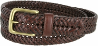 """20154 Men's Braided Woven Leather Dress Belt 1-1/4"""" wide with Brass Plated Buckle - Brown"""