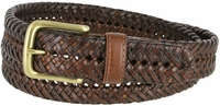 """20154 Men's Braided Woven Leather Dress Belt 1-1/4"""" wide with Brass Plated Buckle - Tan"""