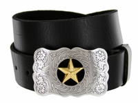 """8459 The Texas Star Men's Western Leather Belt - 1 1/2"""" wide"""