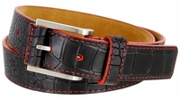 Lejon Single Red Stitching Alligator Embossed Leather Dress Belt