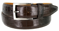 Lejon Single Stitched Italian Calfskin Alligator Embossed Leather Dress Belt - Brown