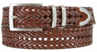 """NEW!!! 3 Holes Braided Woven Leather Belt 1-3/8"""" wide - TAN"""