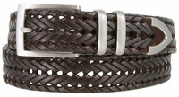 """NEW!!! 3 Holes Braided Woven Leather Belt 1-3/8"""" wide - BROWN"""