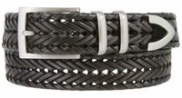 """NEW!!! 3 Holes Braided Woven Leather Belt 1-3/8"""" wide - BLACK"""