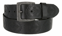 "Earth's Vintage  Casual Full Grain Leather Jean Belt 1-1/2"" wide - Black"
