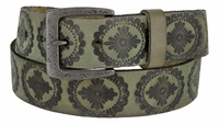 "Earth's Vintage Casual Full Grain Leather Jean Belt 1-1/2"" Green"