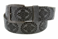 "Earth's Vintage Casual Full Grain Leather Jean Belt 1-1/2"" wide - Gray"