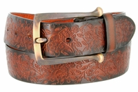 Full Leather Vintage Floral Engraved Tooled Casual Jean Belt