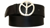 "3893 Peace Sign Full Grain Leather Belt - 1 3/4"" wide"