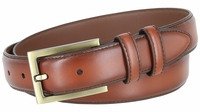"""BL010 Smooth Burnish Edge Styled Genuine Leather Office Dress Belt 1-1/8"""" Wide - Tan"""