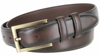 """BL010 Smooth Burnish Edge Styled Genuine Leather Office Dress Belt 1-1/8"""" Wide - Brown"""