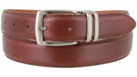 """3076 Genuine Everyday Clerical Leather Belt with Silver Buckle 1-1/8"""" wide"""