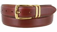 """3076 Genuine Everyday Clerical Leather Belt with Gold Buckle 1-1/8"""" wide"""