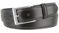 """3558 Business Genuine Leather Dress Belt with Silver Buckle   1 3/8"""" wide"""