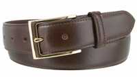 """3558 Business Genuine Leather Dress Belt with Gold Buckle   1 3/8"""" wide"""