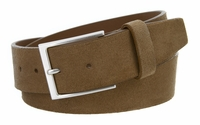 "LEJON Casual Suede Leather Belt - 1 1/2""Wide - TAN"