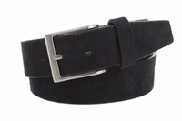 "LEJON Casual Suede Leather Belt - 1 1/2"" Wide - NAVY"