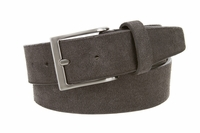 "LEJON Casual Suede Leather Bet - 1 1/2"" Wide - GRAY"