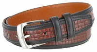 """NEW!!! 4255 Contemporary Double Stitched Edge Basket-weave Genuine Leather Office Dress Belt 1-1/4"""" wide"""