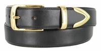 """3508 Men's Smooth Genuine Casual Dress Leather Belt with Gold Plated Buckle Set - 1 3/8"""" Wide"""