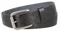 "NEW!! 4447 Casual Floral Embossed Leather Belt - 1 1/2"" wide Roller Silver Buckle"