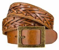 "NEW!! 3914 Fullerton Genuine Full Grain Leather Casual Belt - 1 1/2"" Wide TAN"