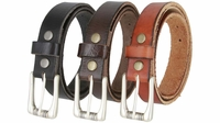 """Genuine Full Grain Casual Leather Belt with Roller Buckle 1 1/8"""" wide"""