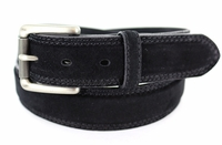 "3238 FULLERTON Suede Roller Buckle Full Grain Leather Belt - 1 3/8"" wide BLACK"