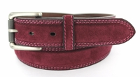 "3238 FULLERTON Suede Roller Buckle Full Grain Leather Belt - 1 3/8"" wide BURGUNDY"